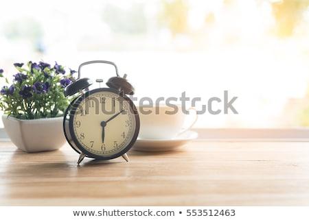 Wekker goede dag beker koffie goedemorgen Stockfoto © Illia
