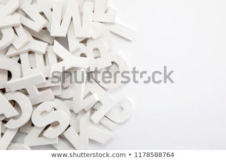 Beyaz boyalı ahşap harfler matbaacılık Stok fotoğraf © sqback