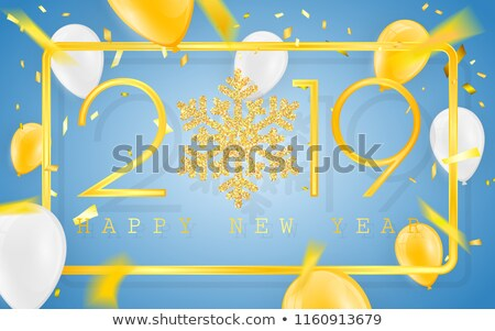 Foto stock: Happy New Year 2019 Golden Numbers With Confetti And Glitter Balloons On A Blue Background Vector