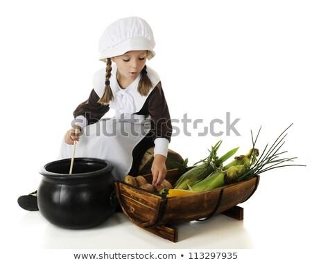 Bambino pellegrino seduta cartoon illustrazione ragazzo Foto d'archivio © cthoman