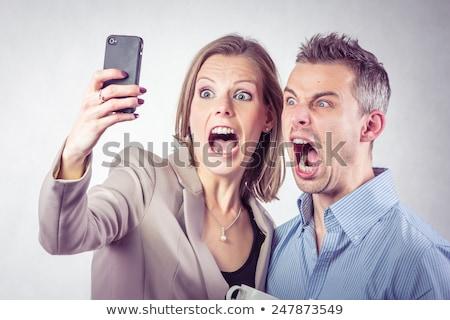 悲鳴 · 電話 · 男 · 怒っ · ビジネス · 顔 - ストックフォト © deandrobot
