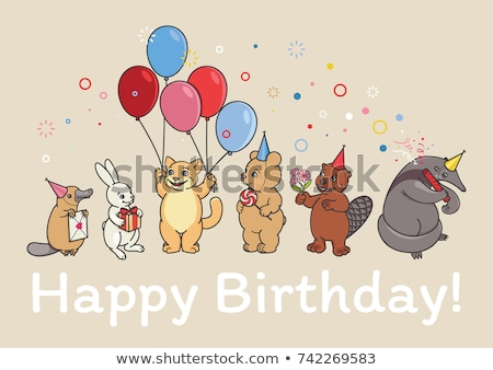 Cartoon Beaver Birthday Party Stock photo © cthoman