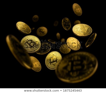 Gold coin of bitcoin in levitation on black background Stock photo © Valeriy