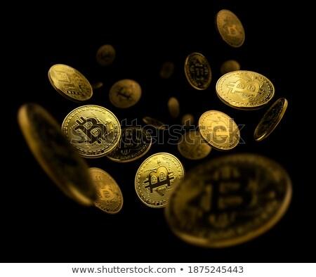 Moneda de oro bitcoin levitación negro espacio de la copia texto Foto stock © Valeriy