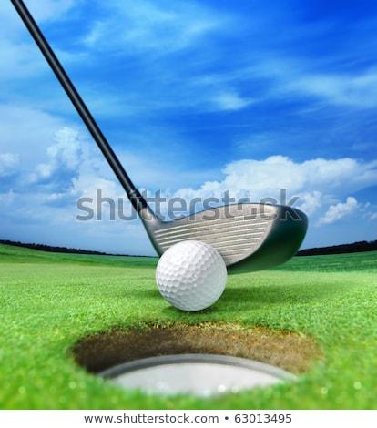 Stock photo: white golf ball near bunker