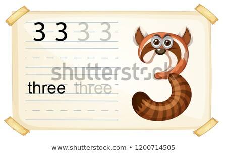 Animal cartoon number three worksheet Stock photo © colematt