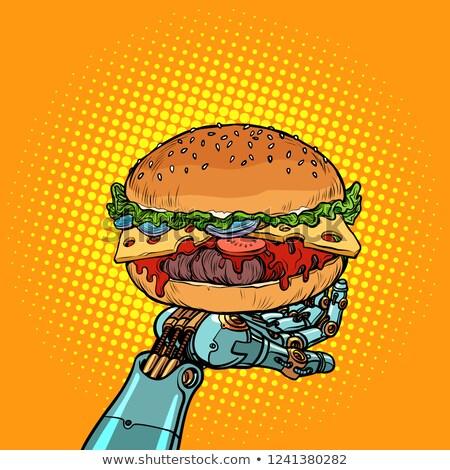 Burger робота руки Поп-арт ретро Vintage Сток-фото © studiostoks