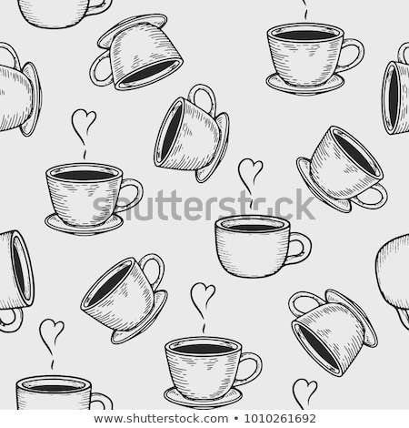 hand drawn pattern with tea and coffee cups stock photo © margolana