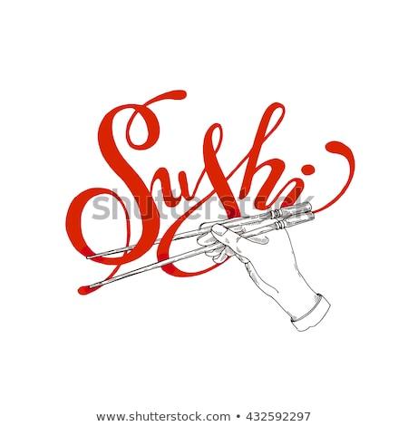 Eller sushi rulo örnek plastik Stok fotoğraf © lenm