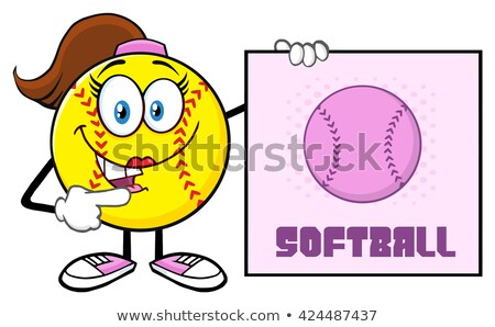 Parler softball fille mascotte dessinée personnage pointant Photo stock © hittoon