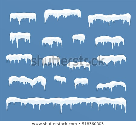 Snowdrifts, icicles, ice caps set, Snowcap and snowflakes. vector Stock photo © Andrei_