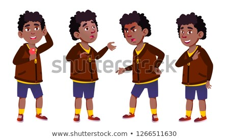 Boy Schoolboy Kid Vector. Primary School Child. Black. Afro American. Youth. For Card, Advertisement Stock photo © pikepicture