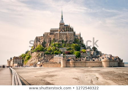 Panoramic view of famous Le Mont Saint Michelewith blue sky and  Stock photo © doomko