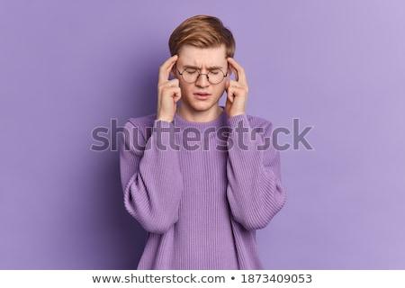 Portré beteg fiatalember pulóver sál izolált Stock fotó © deandrobot