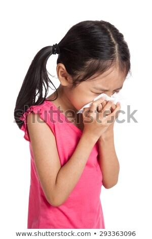 Stock fotó: Lány · tüsszentés · szalvéta · papír · fehér · kettő