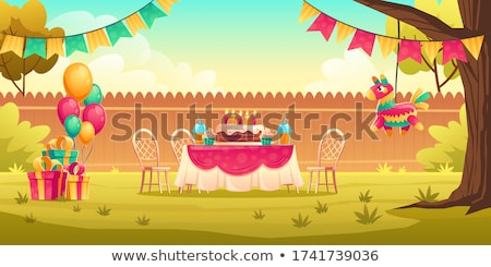 happy kids with gifts on birthday party at summer Stock photo © dolgachov
