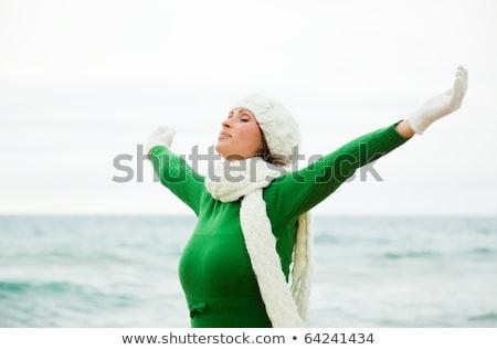 Portré fiatal nő téli idény tengerpart nő boldog Stock fotó © Lopolo