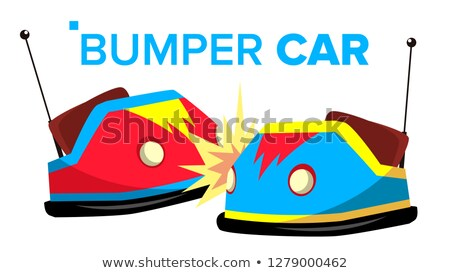 Bumper Car Vector. Attraction Hotroad Amusement Park. Bumps. Isolated Flat Cartoon Illustration Stock photo © pikepicture
