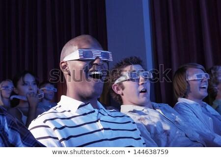 Stockfoto: Opgewonden · jonge · vrouw · zwarte · 3d-bril · gezicht · uitdrukkingen