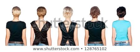 Sarışın kadın kısa moda peruk güzel model Stok fotoğraf © NeonShot