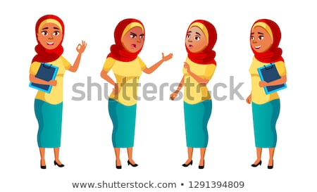 Arab muszlim tinilány szett vektor csinos Stock fotó © pikepicture