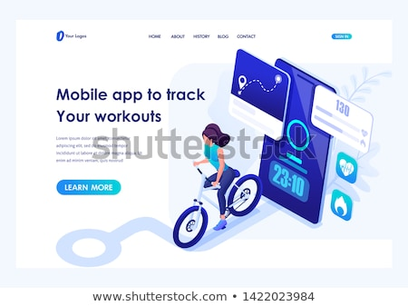 Isometric flat vector landing page template of fitness tracker, smart watch. Stock photo © TarikVision