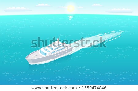 sailboat leaves trace in water marine travelling stock photo © robuart