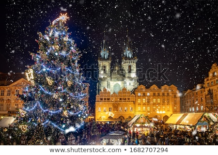 Famous Old Town Square at night in Prague with stars sky Stock photo © Taiga