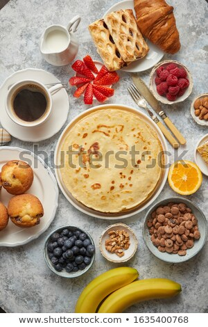Stock fotó: Különböző · reggeli · hozzávalók · kő · asztal · palacsinták