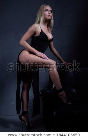 женщину роскошь черное платье портрет красивой Сток-фото © dariazu