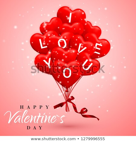 i love you happy valentines day background red balloon in form of heart with bow and ribbon vecto stock photo © olehsvetiukha