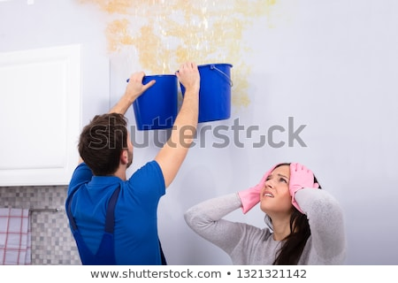 unhappy woman standing with handyman while collecting water stock photo © andreypopov