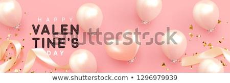 san · valentino · 3D · rosa · a · forma · di · cuore · web · banner - foto d'archivio © cienpies