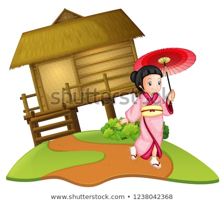 Stockfoto: Japans · meisje · houten · hut · illustratie · hout