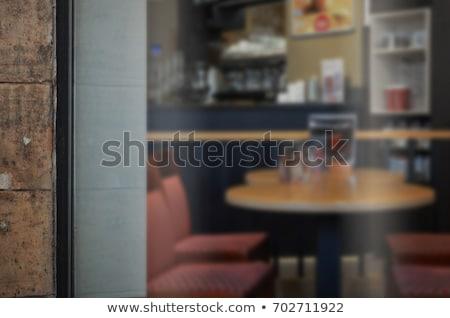 コーヒーショップ ガラス ドア 実例 デザイン 背景 ストックフォト © colematt