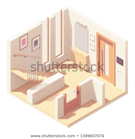 vector isometric hallway with wooden staircase stock photo © tele52