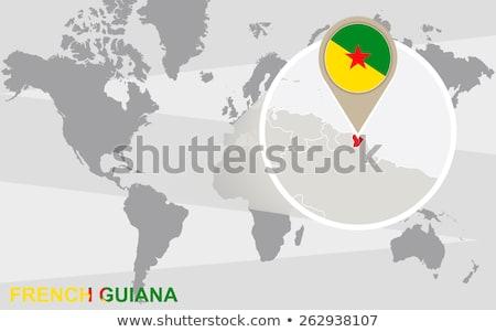 Francês mapa mapa do mundo bandeira pin Foto stock © kyryloff