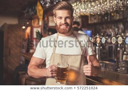 портрет красивый молодым человеком официант Сток-фото © deandrobot