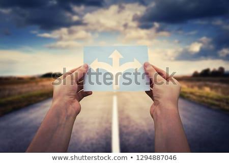 iki · durmak · yön · imzalamak · adam · soyut - stok fotoğraf © ra2studio