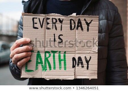text every day is Earth day in a brown signboard Stock photo © nito