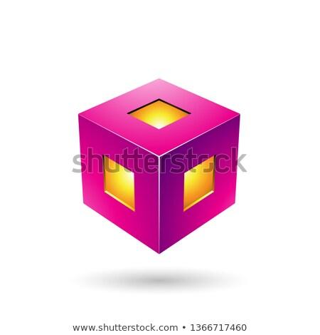 пурпурный фонарь куб вектора иллюстрация изолированный Сток-фото © cidepix