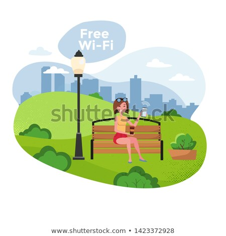 spending time in park and free wifi zone woman stock photo © robuart