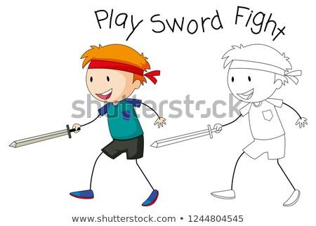 Firka fiú játék kard verekedés illusztráció Stock fotó © colematt