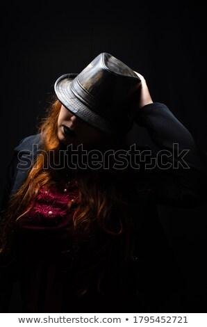 Gyönyörű vörös hajú nő portré nő stúdiófelvétel fehér Stock fotó © ajn