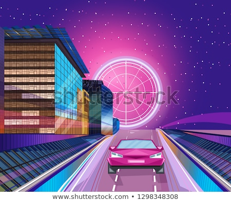 Czerwony samochodu noc banner wektora miasta Zdjęcia stock © frimufilms