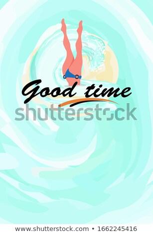 pływanie · dziewczyna · rurka · do · nurkowania · nurek · uśmiech · dziecko - zdjęcia stock © robuart