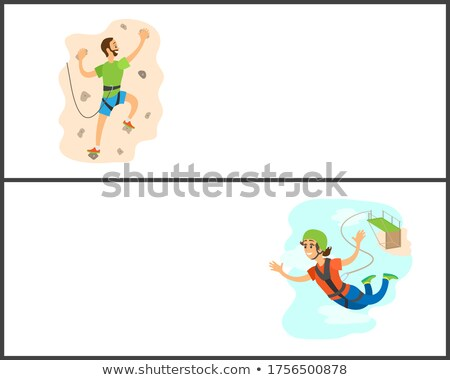 Bungee Jumping, Woman with Rope Flying Website Stock photo © robuart