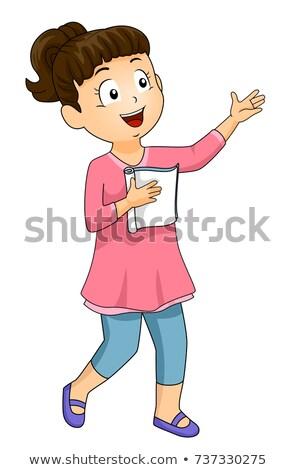 Gyerek lány gyakorlat kézírás játék illusztráció Stock fotó © lenm