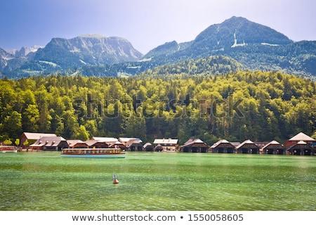 Alpine göl ahşap köy plaj Stok fotoğraf © xbrchx