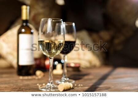 Wijnglazen steen tabel top exemplaar ruimte Stockfoto © karandaev